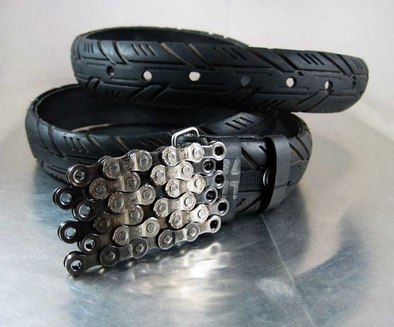 Recycled Bike Chain Belt Buckle Flat Clear Finish Bike Chain
