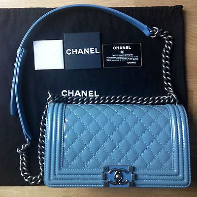 Authentic Rare Chanel Boy Medium Patent Blue Jeans Gently Used Chanel Handbags Chanel Bag Luxury Bags