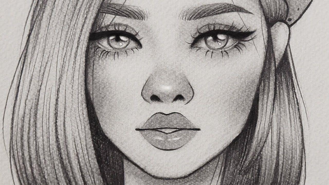تعلم الرسم كيف ترسم بورتريه فتاه باسلوب كرتوني رسم خطوه بخطوة بالرصاص للمبتدئين Youtube Art Female Sketch Male Sketch