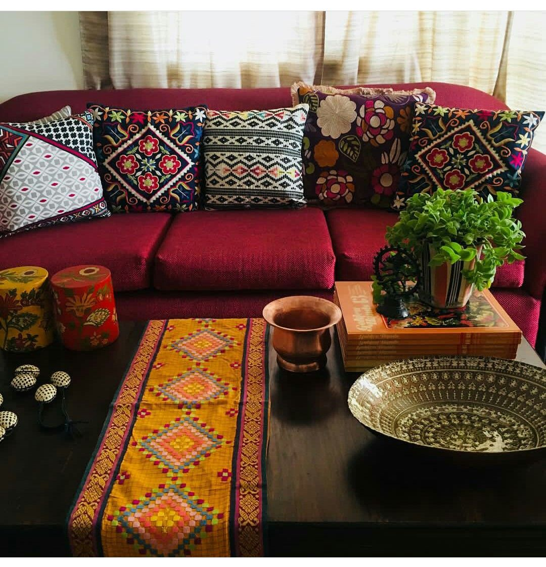 I Love How Low The Furniture Is And The Red Couch Red Sofa Living Room Red Sofa Living Indian Home Decor #red #sofa #decorating #living #room