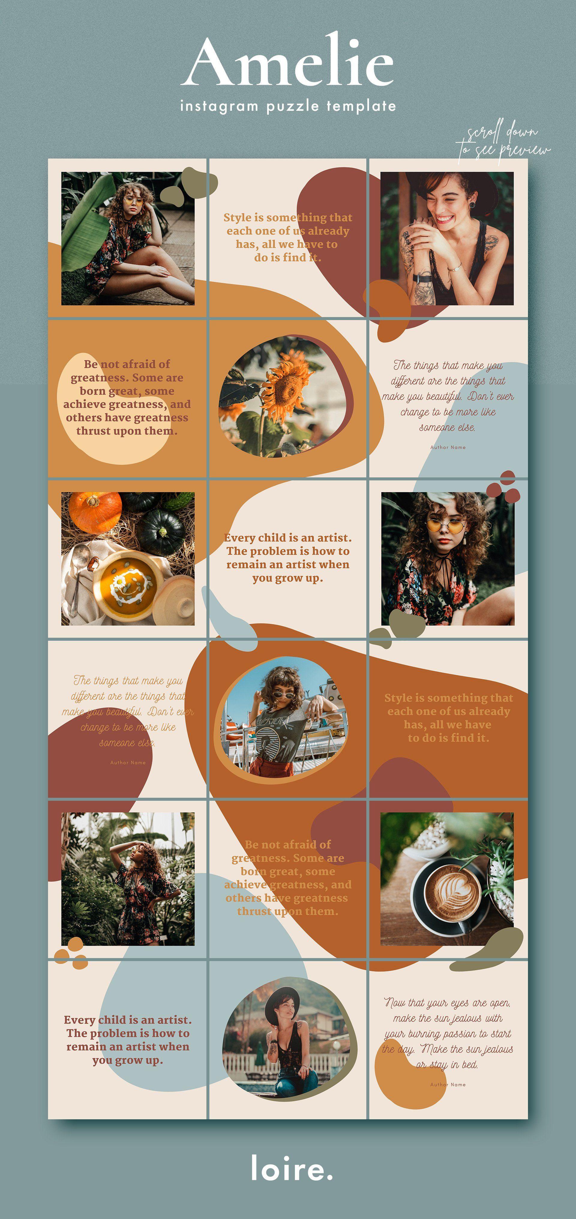 Amelie Instagram Puzzle Canva Instagram Feed Layout Instagram Template Design Instagram Collage
