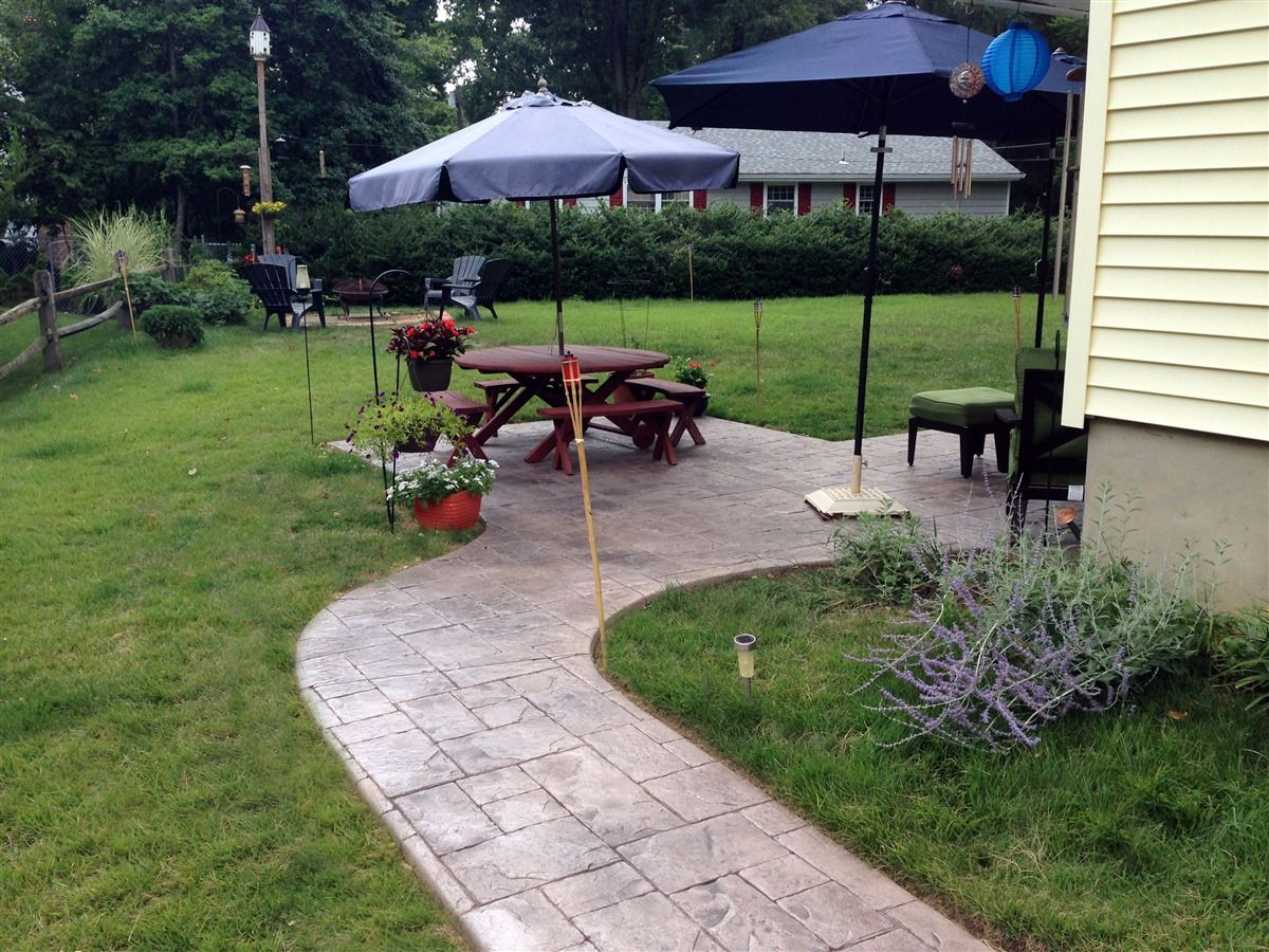 Stamped Concrete Patio And Walkway, NJ With Ashlar Slate Pattern