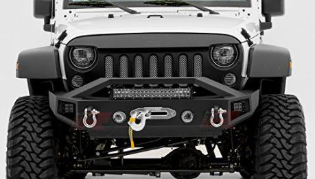 E Autogrilles 07 16 Jeep Wrangler Jk Rock Crawler Front Bumper With Led Lights Winch Plate And Rear Bumper With 2 Hitch Receiver Combo Textured Black 51 030 Jeep Wrangler Accessories Wrangler Accessories Jeep