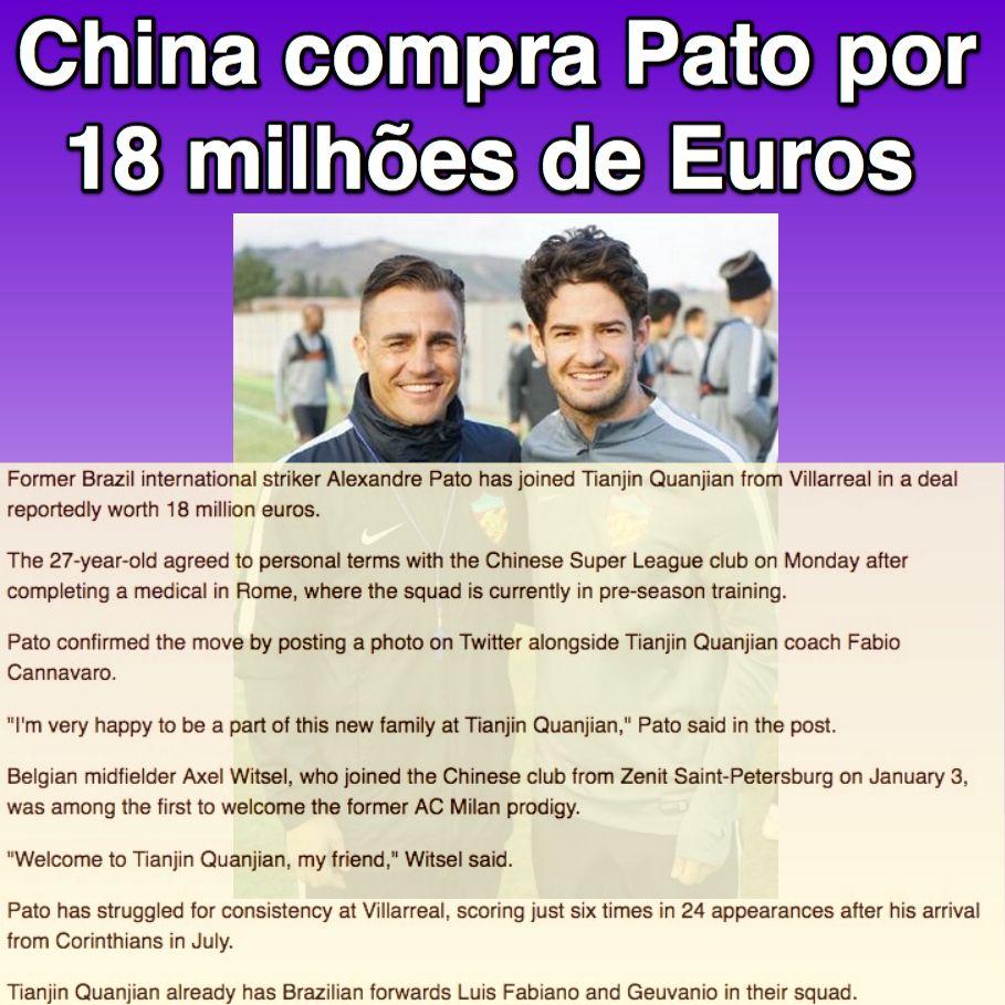 China compra Pato por 18 milhões de Euros [China Plus News] http://english.cri.cn/12394/2017/01/31/4001s950889.htm  ②⓪①⑦ ⓪① ③①