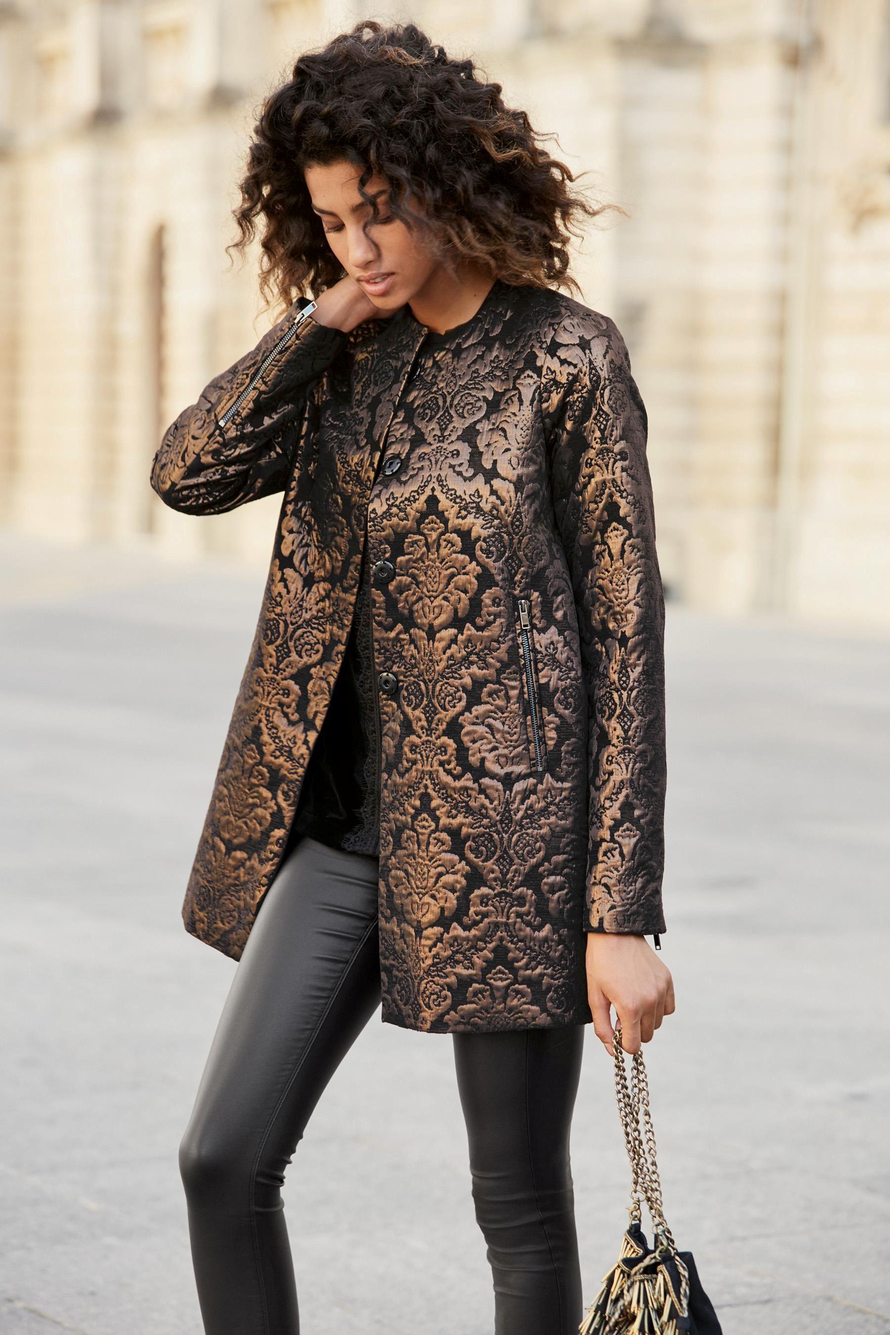 b51d604b557 Buy Black Jacquard Coat from the Next UK online shop