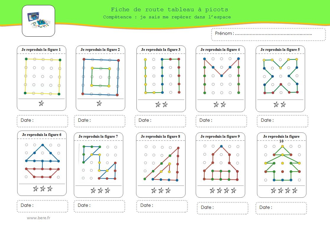 fiche de route picot fil maths cycle 1 kindergarten. Black Bedroom Furniture Sets. Home Design Ideas