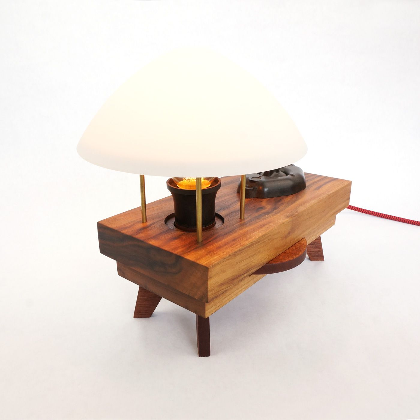 Wooden Table Lamp Shade With Original Bakelite Parts Vintage Look Zzzdesign Wooden Table Lamps Table Lamp Shades Table Lamp