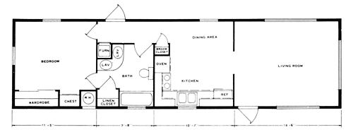 Conchemco Homes Group, One-Bedroom Single-Wide Mobile Home ...