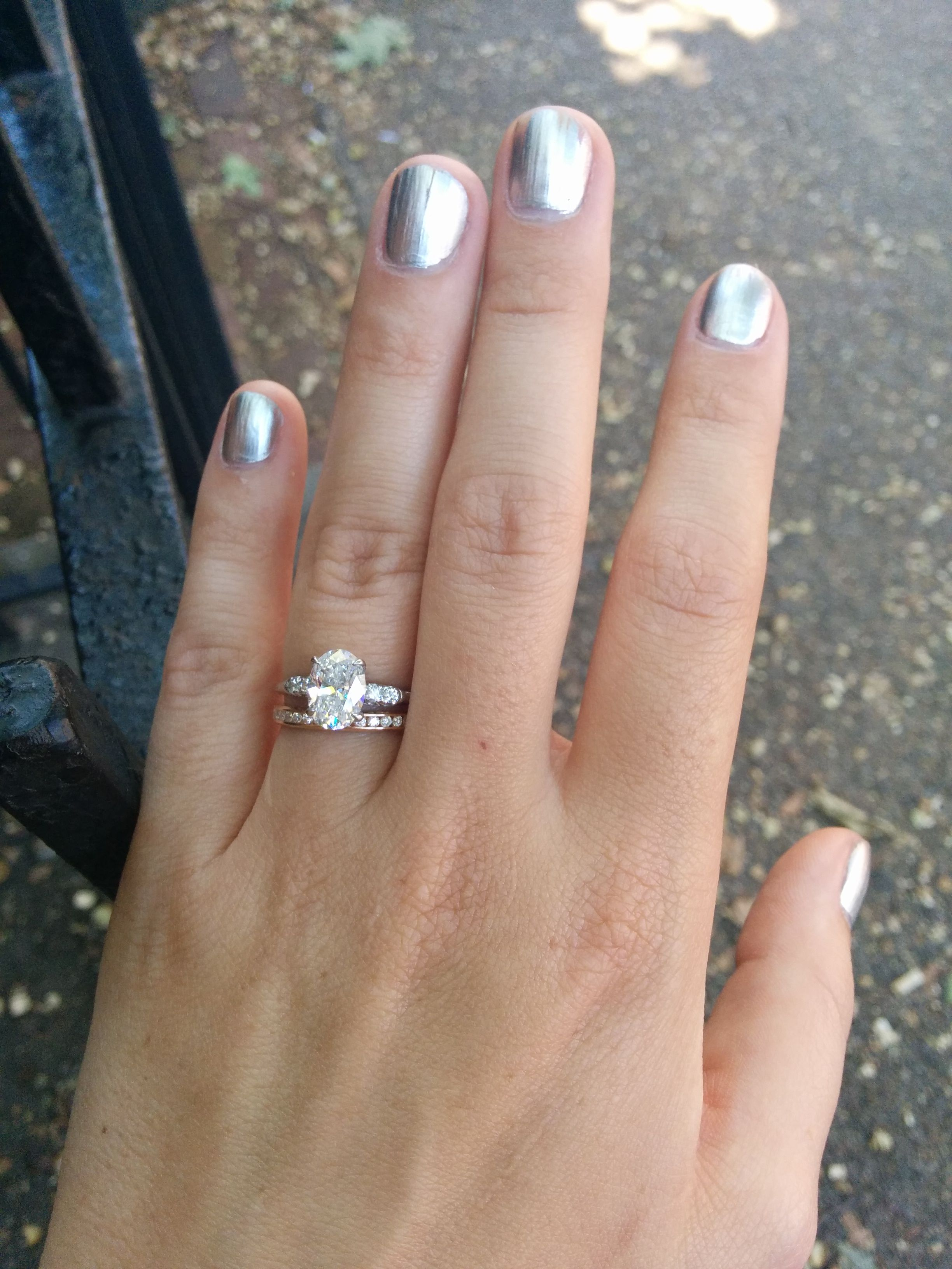 Show me your solitaire rings with an eternity diamond wedding band
