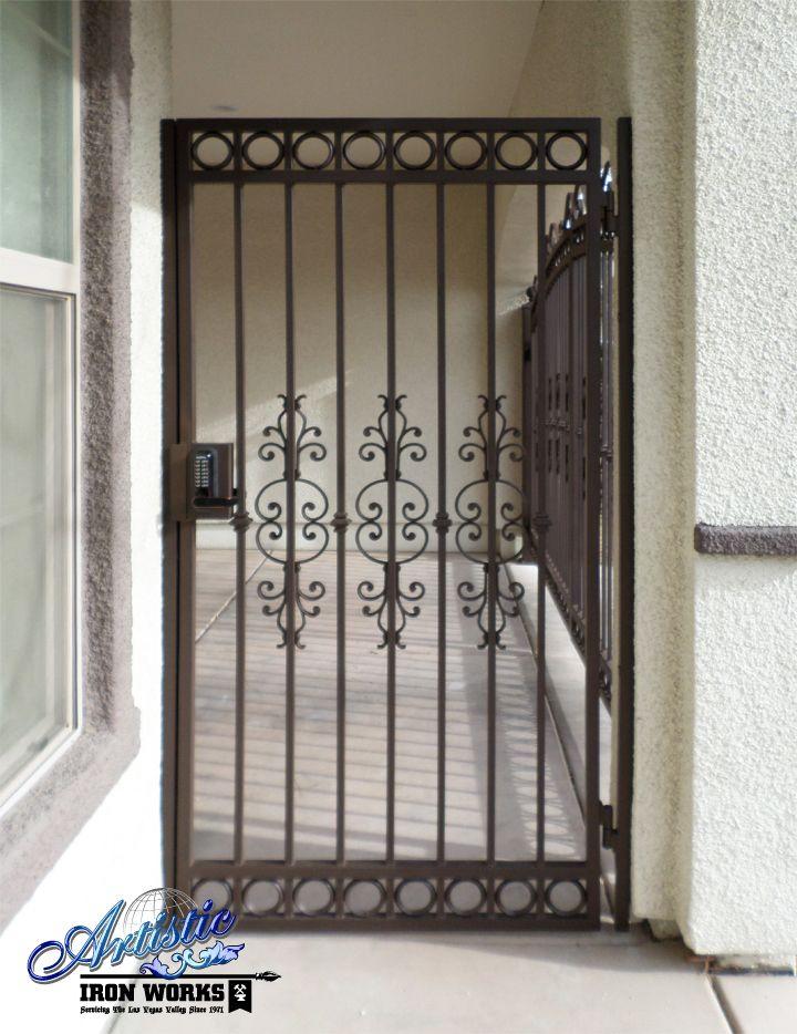 Custom wrought iron gate wrought iron gates pinterest for Wrought iron security doors