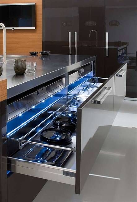 Modern Kitchens And Contemporary Kitchen Designs In Black And - Accent color for grey and white kitchen