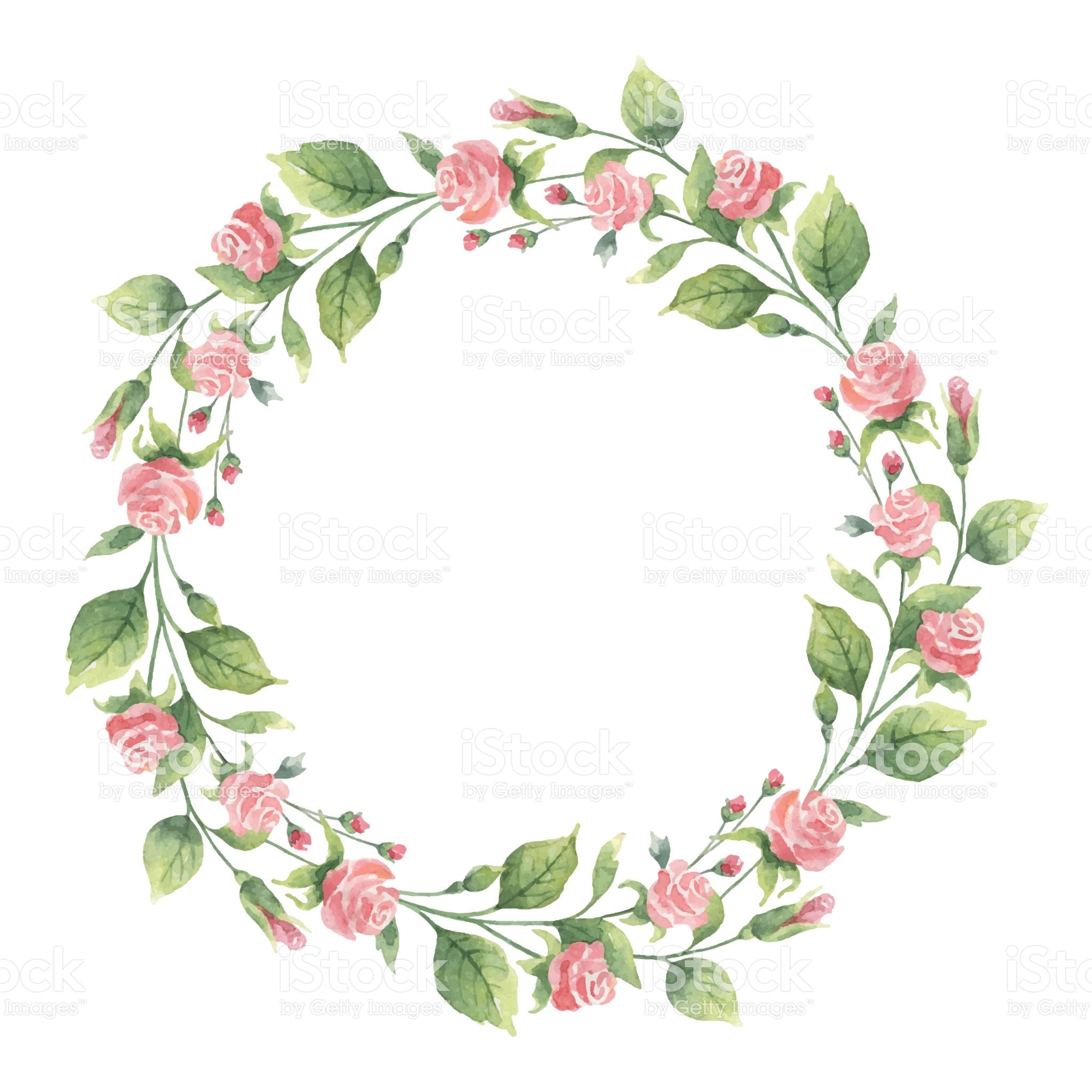 Watercolor Hand Painted Vector Wreath Of Green Branches And