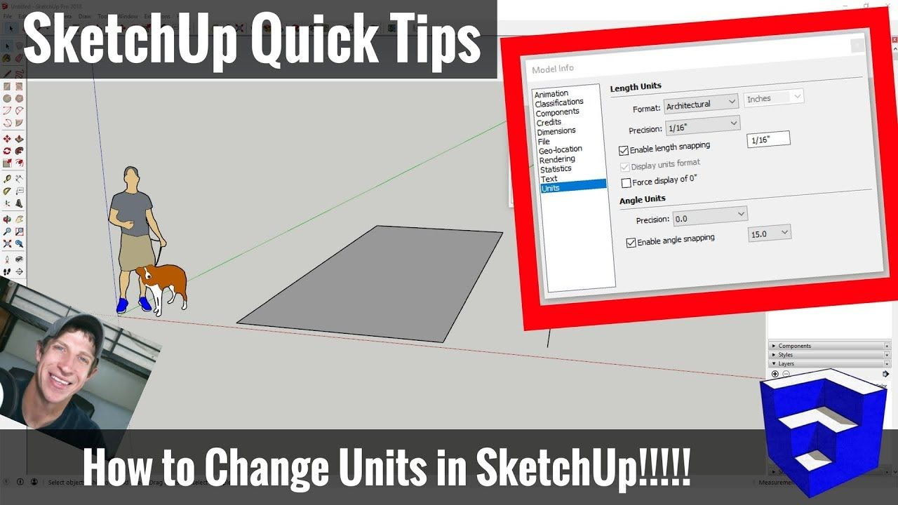 How To Change The Units Of Measure In Sketchup Feet To Inches