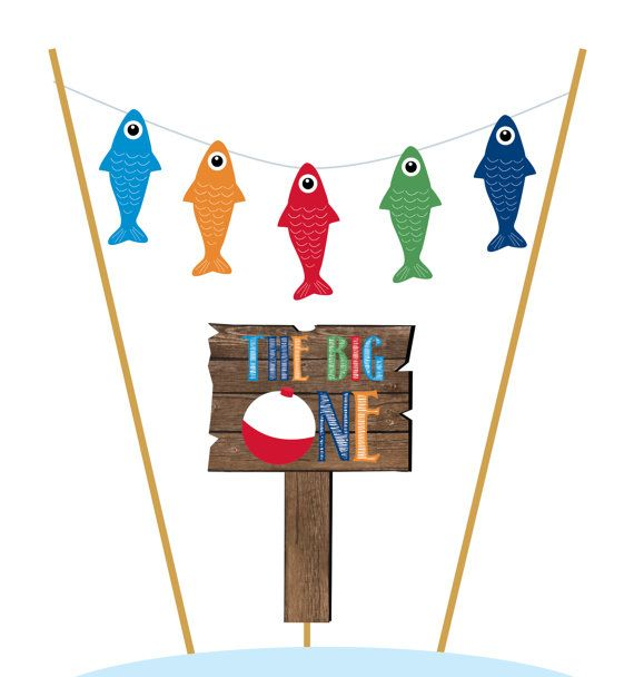 Gone Fishing Birthday Cake Topper Smash by PrettyPaperBoutique2
