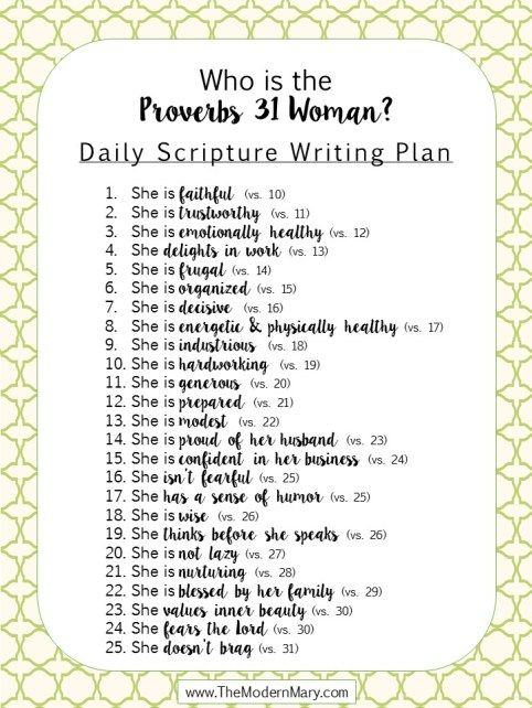 Scripture Writing Plan for the [modern] Proverbs 31 Woman - The Modern Mary
