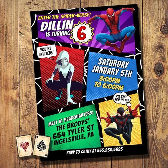 Spiderverse Trio Spiderman Miles Morales Birthday Invitation