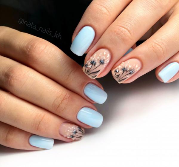 Красивые голубые ногти и самый модный голубой маникюр 2019-2020, фото новинки | Lady Glamor | Синий дизайн ногтей, Дизайнерские ногти, Цветы на ногтях