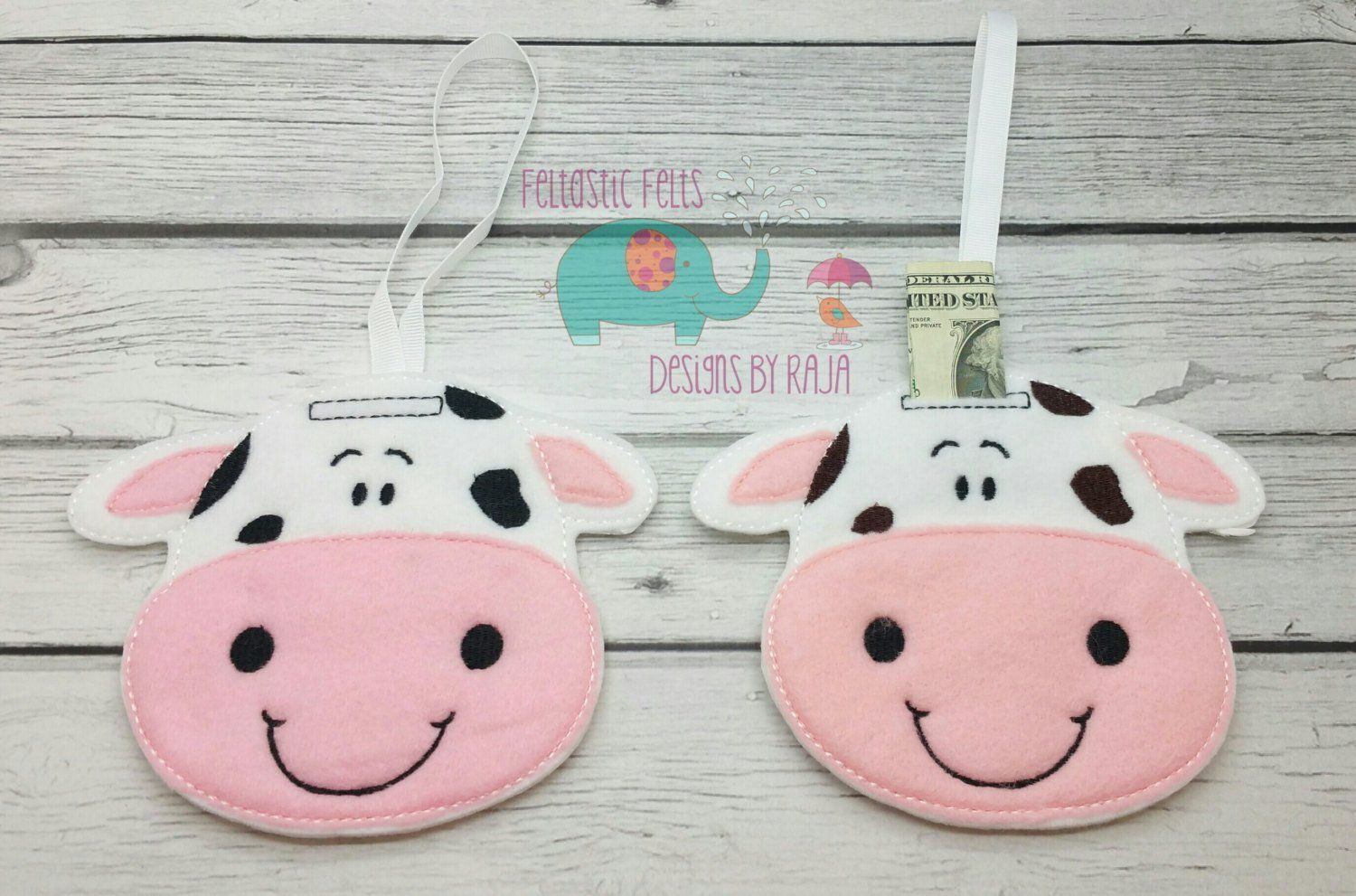 Cow Hanging Felt Unbreakable Piggy Bank Tooth Fairy Tooth Pillow Stocking Stuffers For Adults