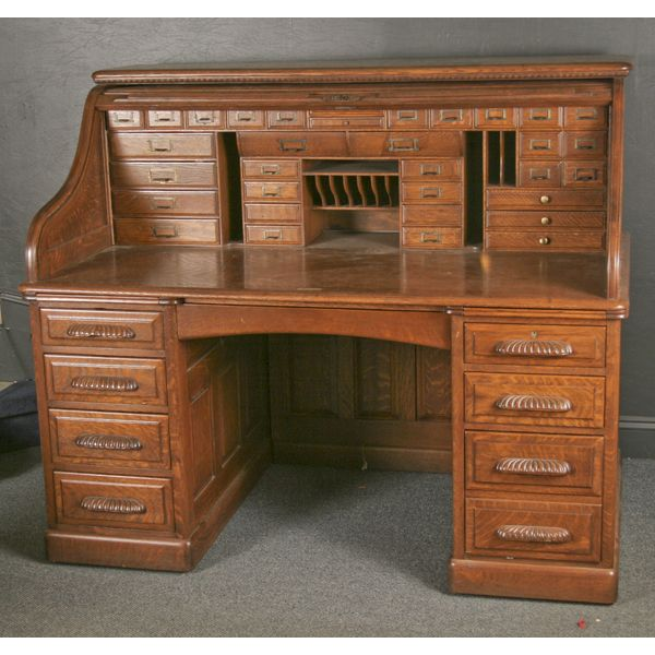 Antique Roll Top Desk | Exceptional oversize quarter oak S roll top desk; |  Antique - Antique Roll Top Desk Exceptional Oversize Quarter Oak S Roll