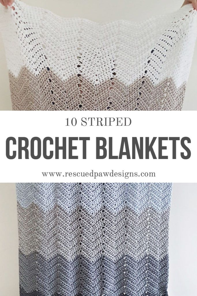 10 Striped Crochet Blankets from Rescued Paw Designs. | Pinterest | Flor