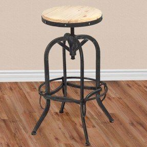 Vintage Bar Stool Industrial Metal Design Wood Top Adjustable Height Swivel Vintage Bar Stools Metal Bar Stools Home Bar Furniture