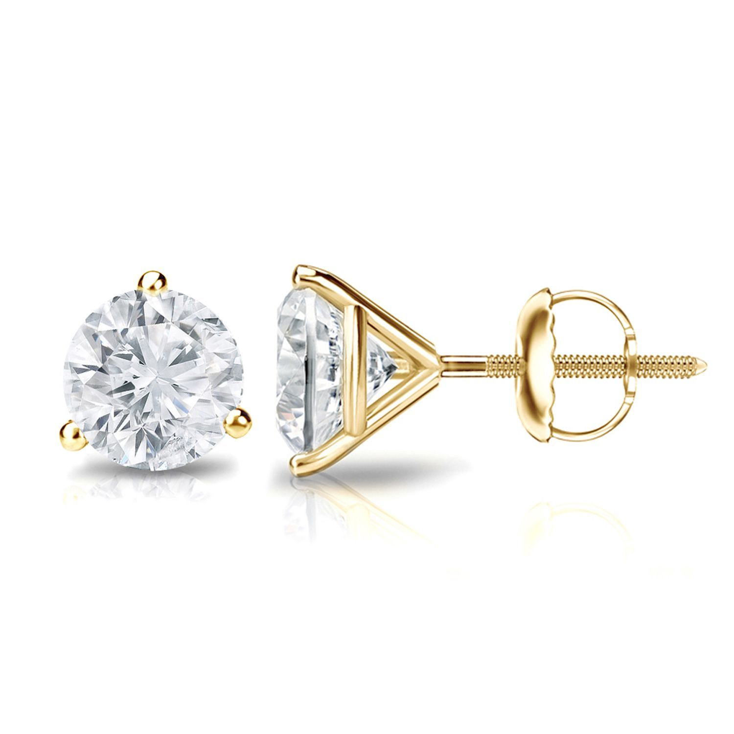 stud h princess i earrings cut ctw classic in gold diamond white prong