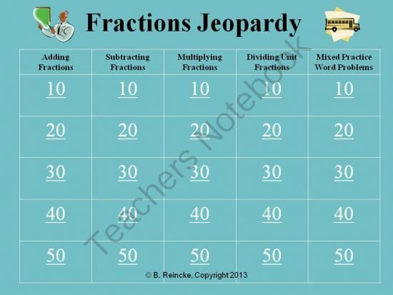 Fractions Jeopardy (Add, Subtract, Multiply, Divide with Unit ...