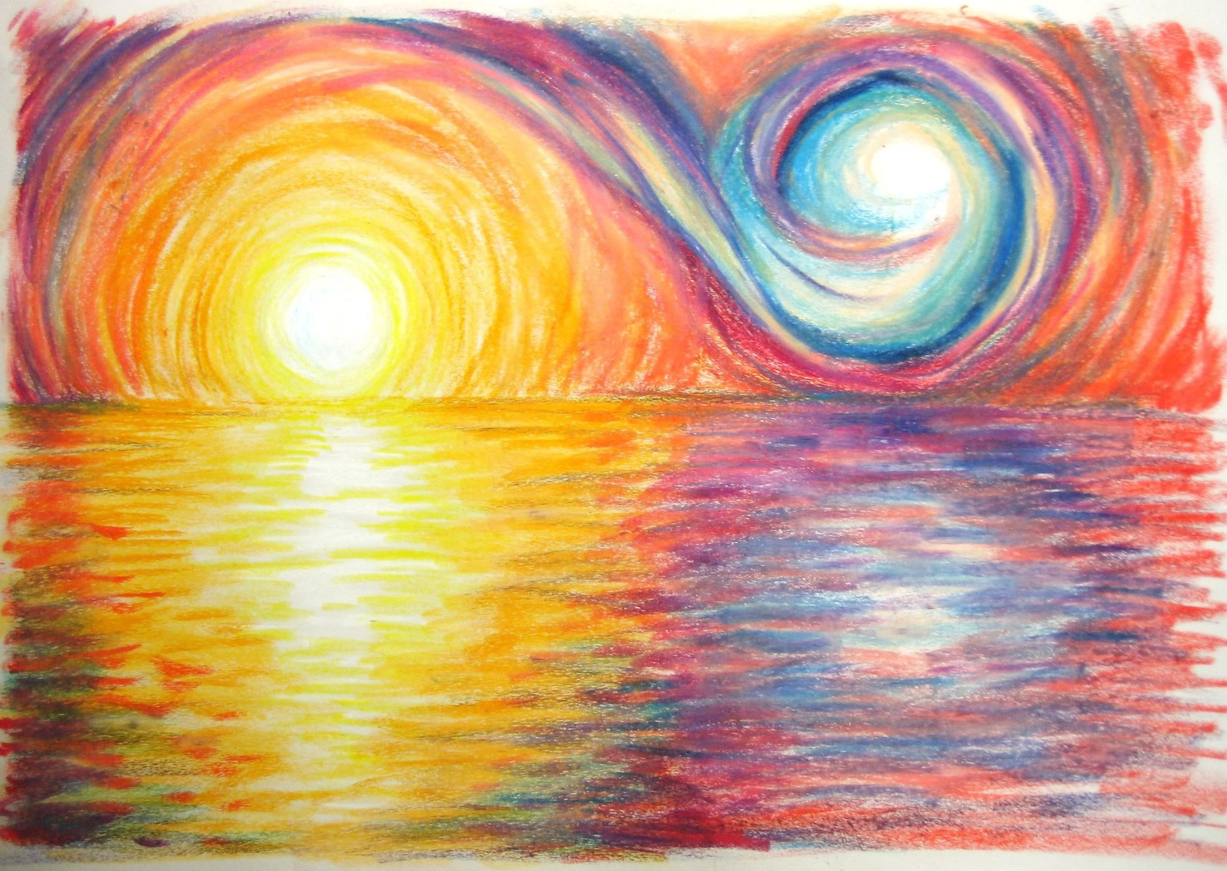 landscape color drawing with oil pastels. oil pastel study of sunset size x swirl landscape color drawing with pastels