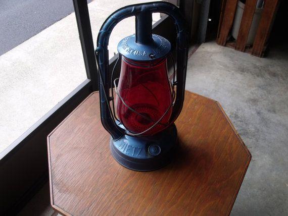 30's oil lamp red globe original blue paint by VintagePaintingYarn, $78.00
