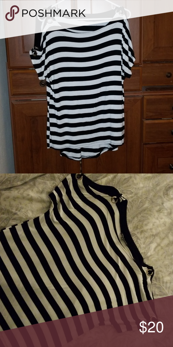 23f32a73a8f08b Cold shoulder top Black and white striped high low cold shoulder top with  gold ring accents
