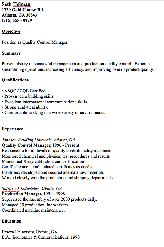 Example Of Quality Control Manager Resume Resumesdesign Manager Resume Resume Cover Letter For Resume