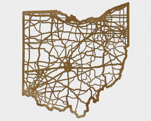 Ohio Wall Art how cool is this?! wooden ohio road map cutout wall art | diy wall