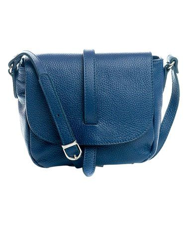 Love this Blue Fold-Over Leather Crossbody Bag on #zulily! #zulilyfinds