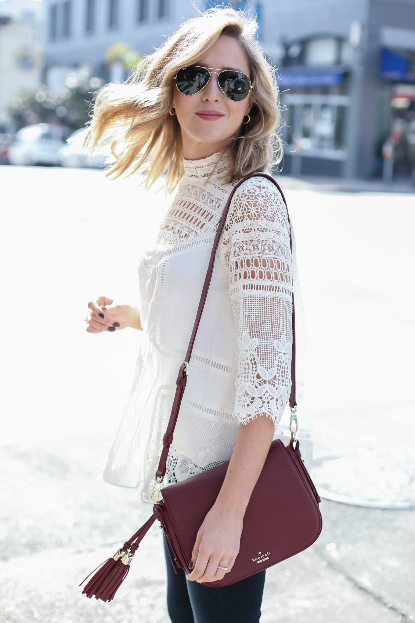 4cc301db2522f6 Lace Mock Neck Top + Flare Leg Jeans | MEMORANDUM | NYC Fashion & Lifestyle  Blog for the Working Girl