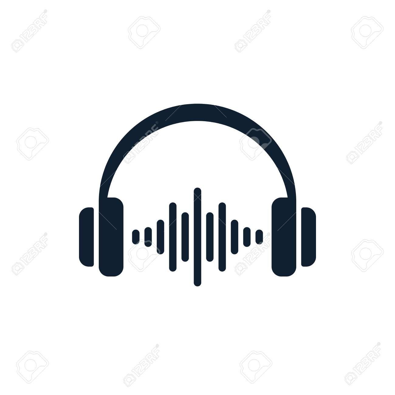 Headphones And Sound Waves On White Background Flat Vector Headphones Design Illustration Affiliate White Back Diy Canvas Wall Art Art Logo Diy Canvas