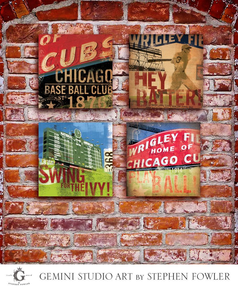 Set Of 4 Wrigley Field Chicago Cubs Baseball Sign By Geministudio,