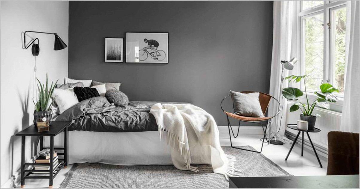 Chambre Ado Garcon Mur Blanc Deco Meuble Noir Et Rouge In 2020