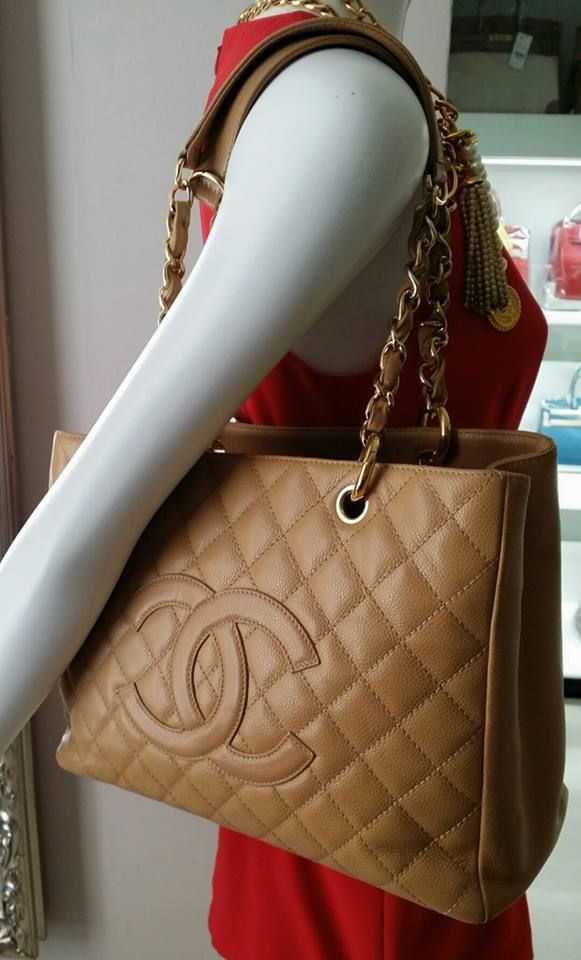 b128d69f61cb #Chanel GST caramel brown caviar leather gold hardware condition good .  With dust bag