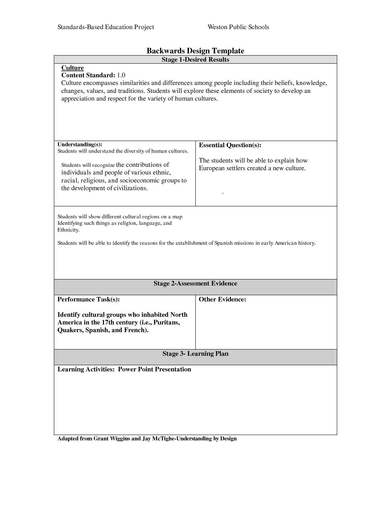 Backward Design Lesson Template  Curriculum For Music