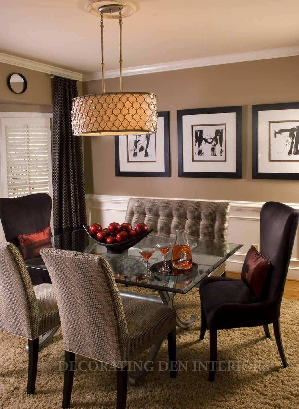 Interesting Asian Dining Room Colors Design Ideas Glass Top Dining Table Black And Gray Chairs Neutral C Brown Dining Room Dining Room Colors Dining Room Paint