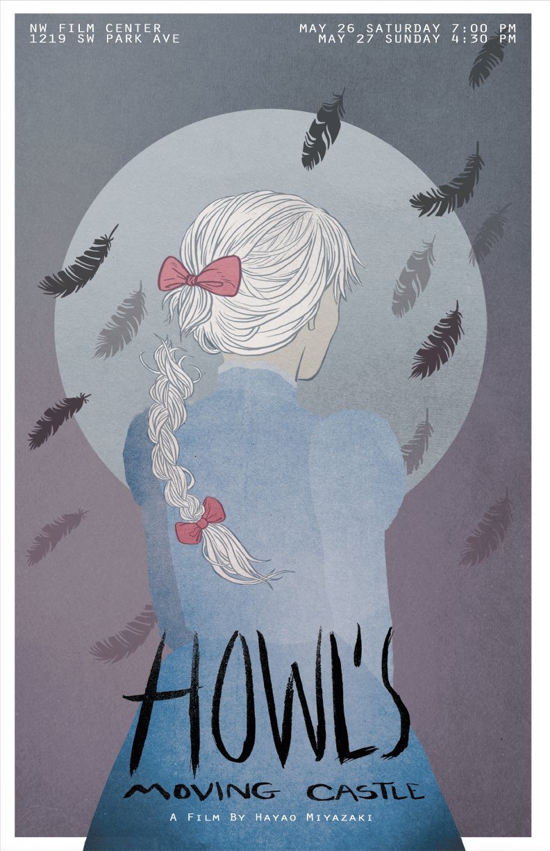 Howl's Moving Castle - really love this poster. The feathers. Her hair. All of it!