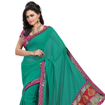 Teal Blue Faux Chiffon Saree with Blouse