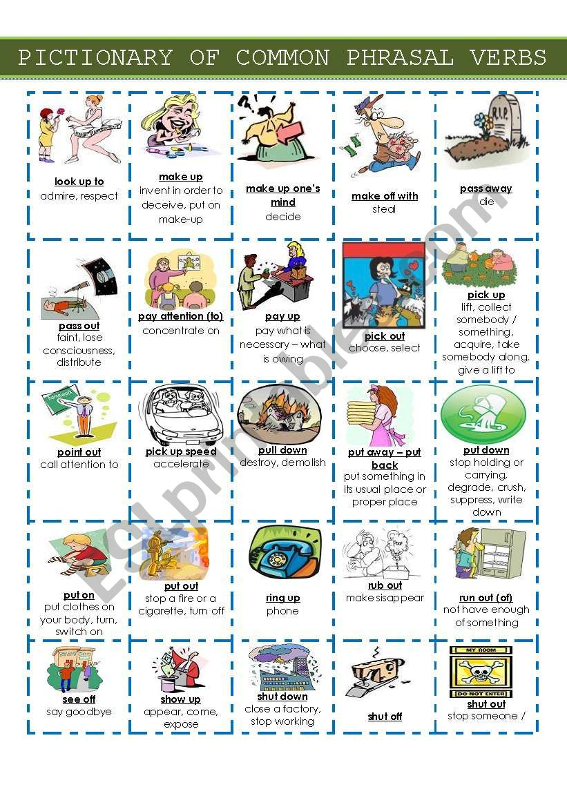 Pictionary Of Common Phrasal Verbs Set 2 Verb Verb Worksheets Verbs For Kids [ 1169 x 821 Pixel ]