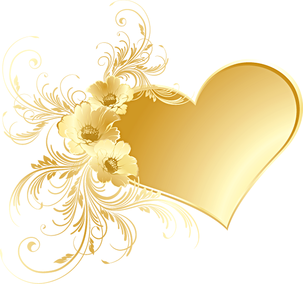 Gold Heart with Flowers PNG Picture Gallery Yopriceville