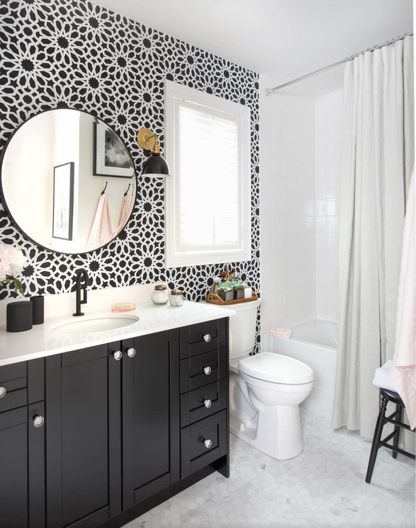 bathroom with wall paper - black and white