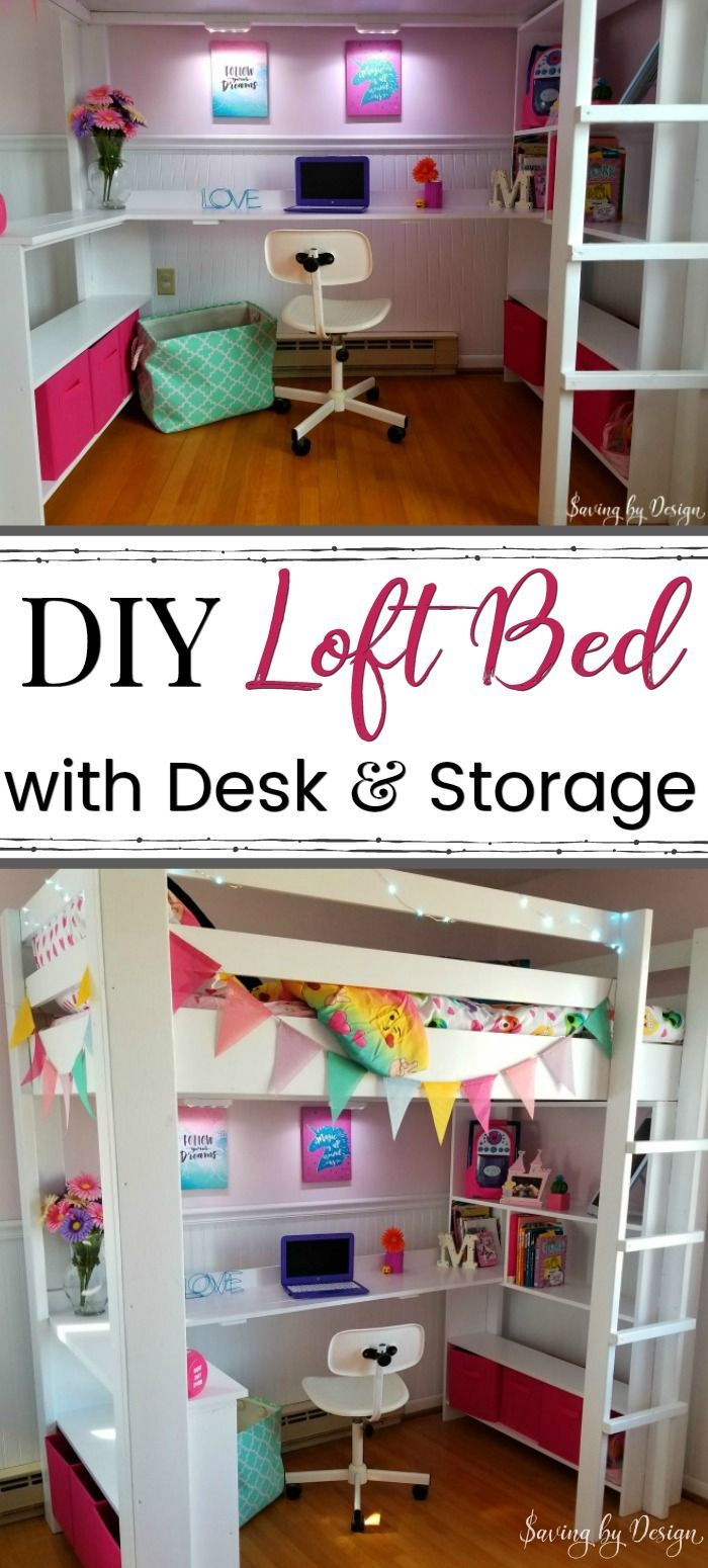 How to Build a Loft Bed with Desk and Storage | DIY Loft Bed with Desk