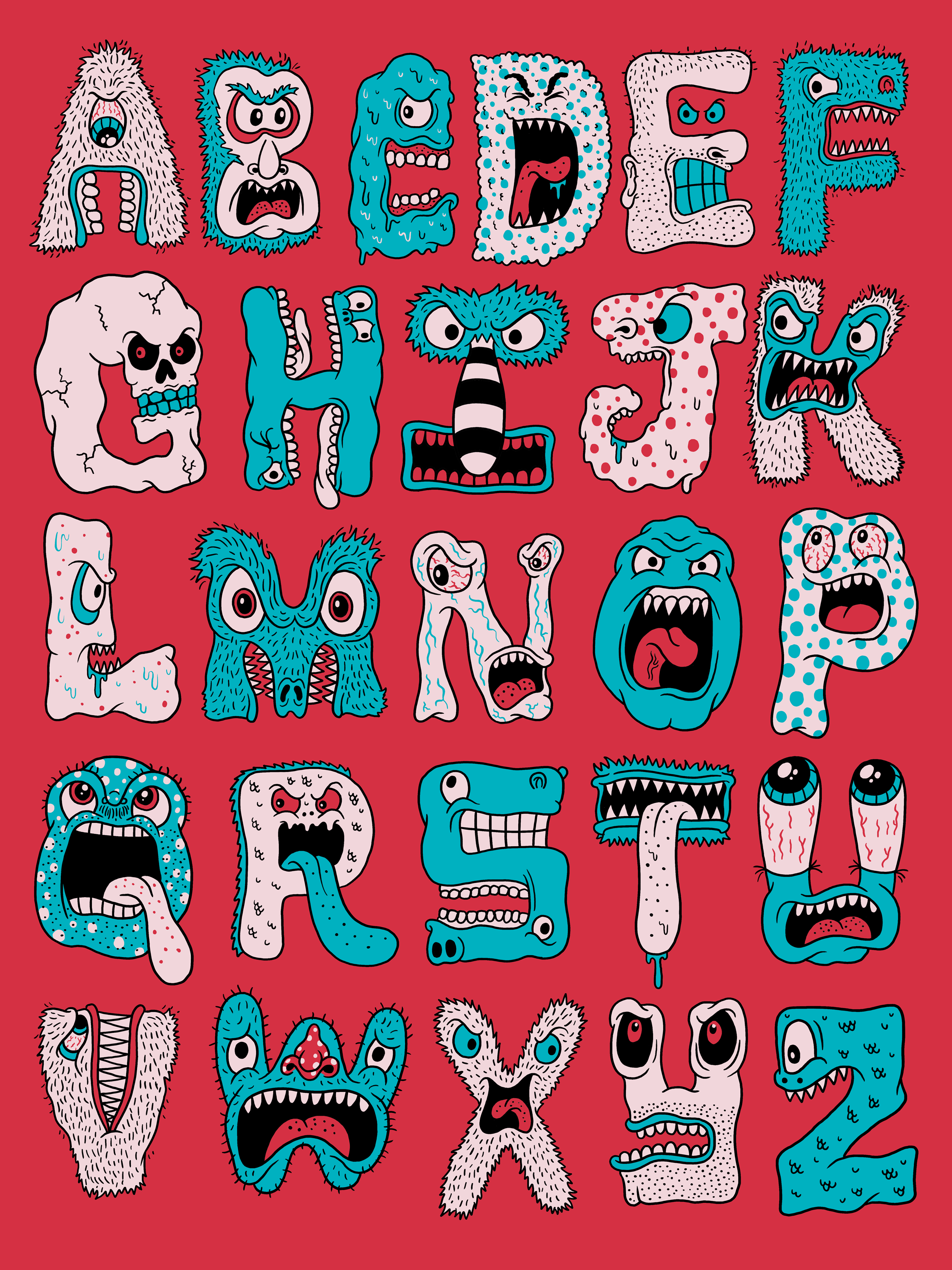monster alphabet prints and more available through society6 daily