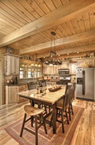 Traditional Family Room Design Ideas Pictures Remodel And Decor Log Home Kitchens Kitchen Remodel Log Cabin Kitchens