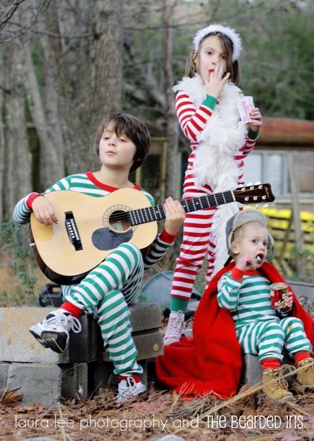 the best christmas card we ever made by thebeardediris it included matching hanna andersson pjs an open can of beanie weenies and trespassing - Best Christmas Cards Ever
