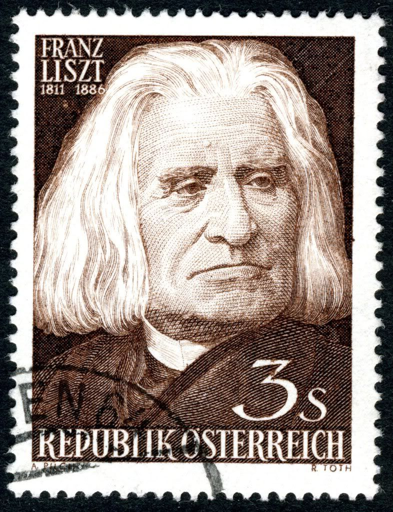 Franz Liszt (1811-1886). Austrian post stamp